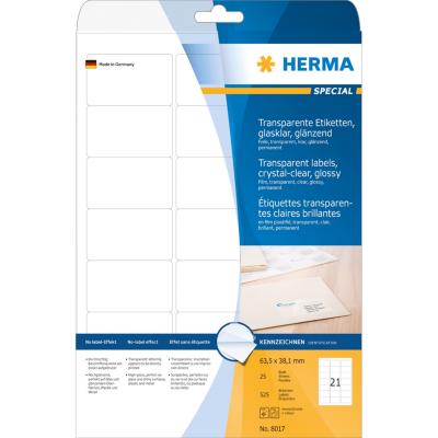 Herma  8017 A4 Etiketten transparent glasklar 63,5×38,1mm 525Stk glänzend | 4008705080170