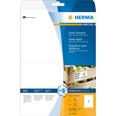 Herma  10910 Etiketten A4 210×148 mm weiß extrem stark haftend Papier matt 50 St. | 4008705109109