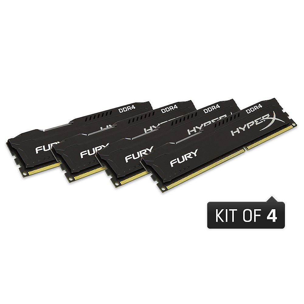 32GB (4x8GB) Kingston HyperX Fury schwarz DDR4-2666 CL15 RAM Kit