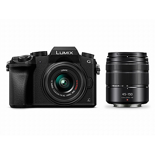 Panasonic Lumix DMC-G70 Kit 14-42mm + 45-150mm schwarz Digitalkamera
