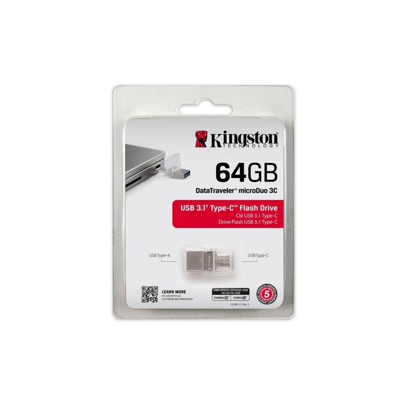 Kingston 64GB DataTraveler MicroDuo 3C USB3.1/ Type C - Stick