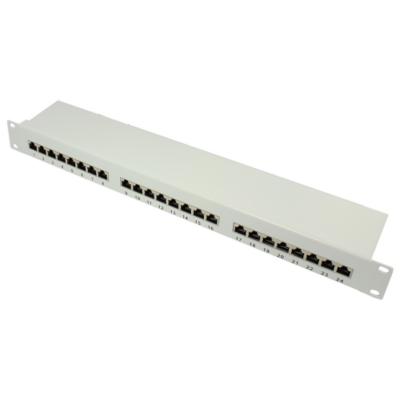 Good Connections  Patch Panel 19″ Zoll CAT6A geschirmt STP 1HE 24-Port grau | 4014619767380