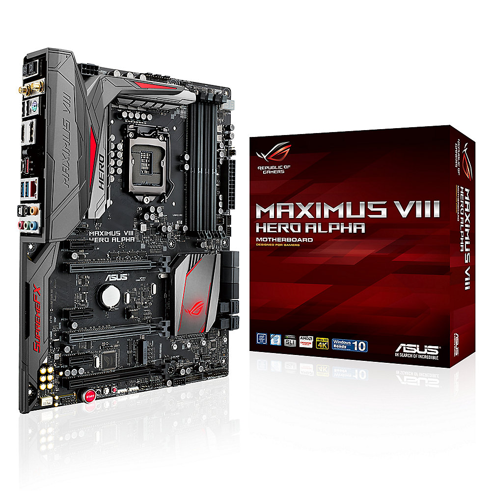 ASUS MAXIMUS VIII HERO Alpha USB3.1/M.2/SATAe/HDMI/DP Z170 ATX Mainboard So.1151