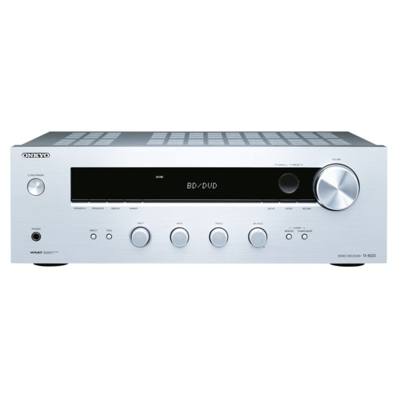 Onkyo TX-8020 Stereo-Receiver 90W/Kanal Phono RDS Silber