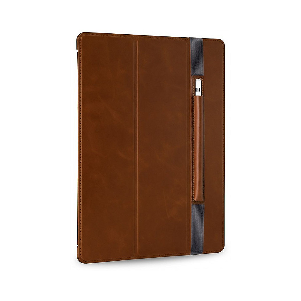 Stilgut Ultraslim Leder Bookcover mit Pencil-Halter für Apple iPad Pro cognac