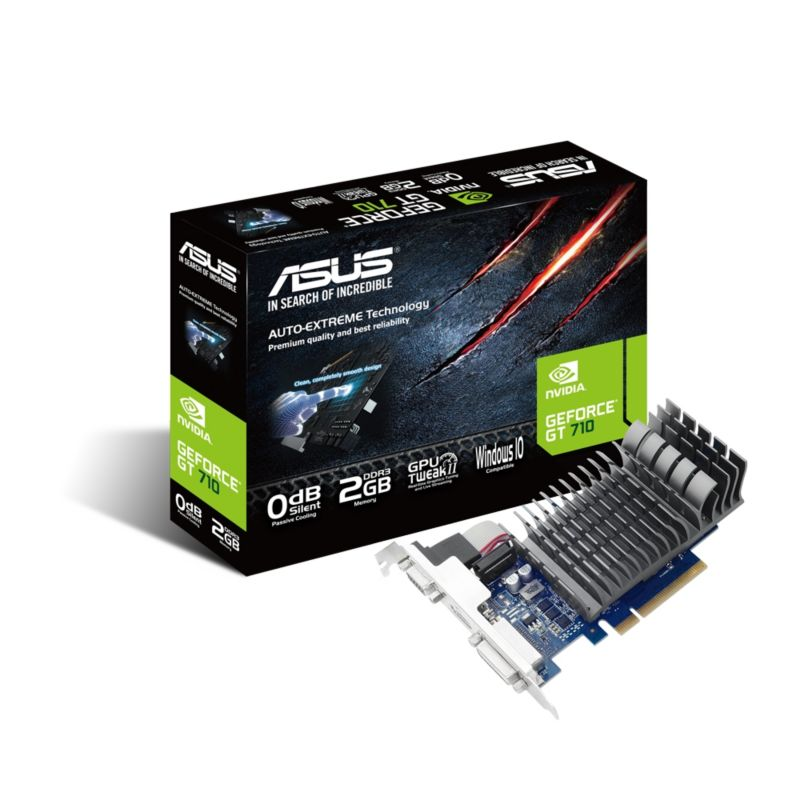 Asus GeForce GT 710 2-SL LP Silent 2GB PCIe DVI/HDMI/VGA passiv low profile