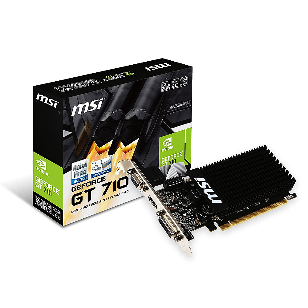 MSI GeForce GT 710 2GB DDR3 Grafikkarte DVI/VGA/HDMI Low Profile passiv