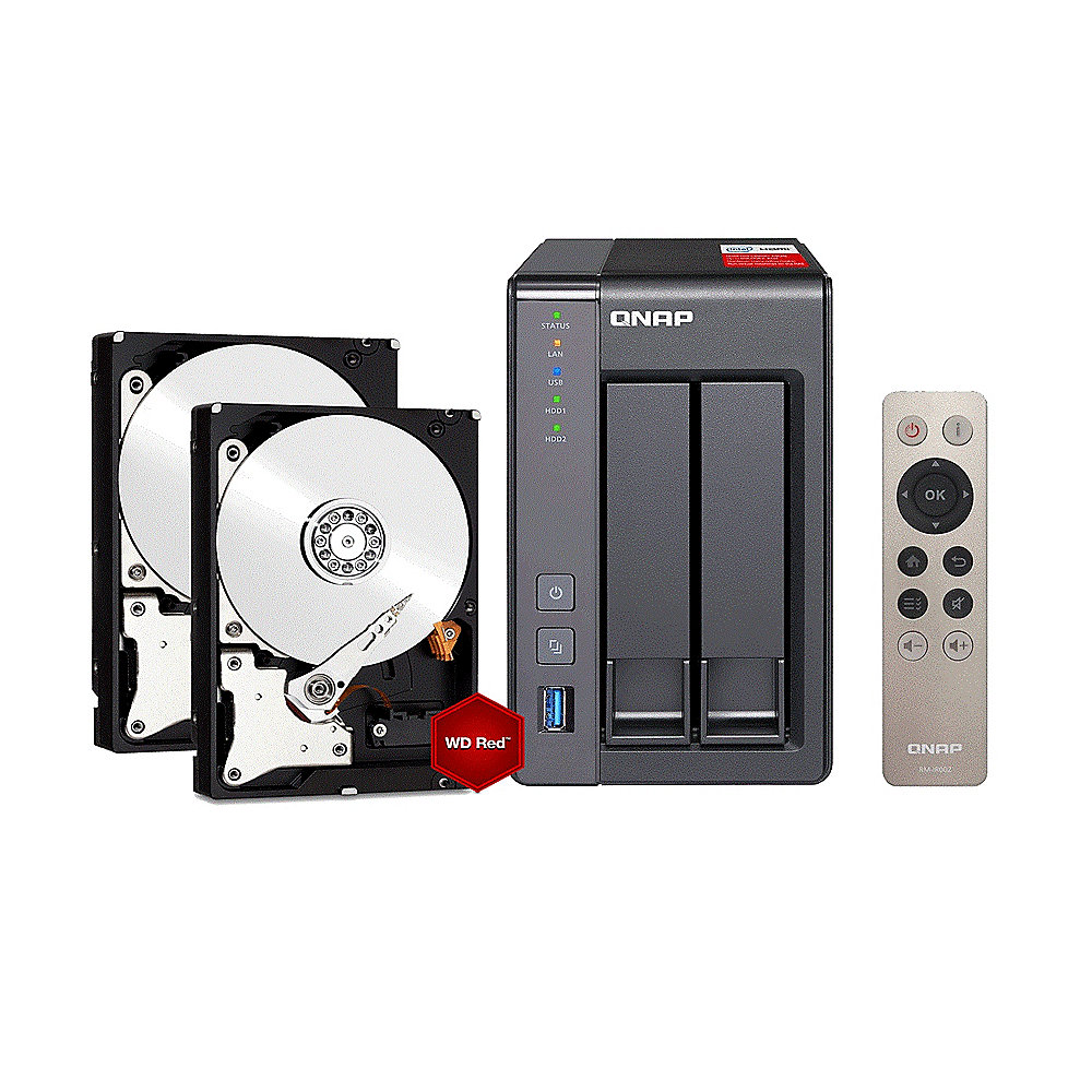 QNAP TS-251+ NAS System (8GB RAM) 4TB inkl. 2x 2TB WD RED WD20EFRX