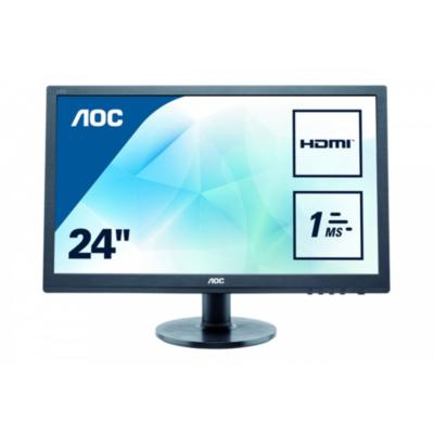 AOC  e2460Sh 61 cm (24″) 16:9 Full HD Gaming Monitor mit 1ms und Lautsprechern   4038986144735