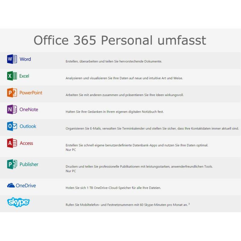 Microsoft Office 365 Personal (1 Benutzer/ 1 PC/ 1 Jahr) Mac/Win ++ ...