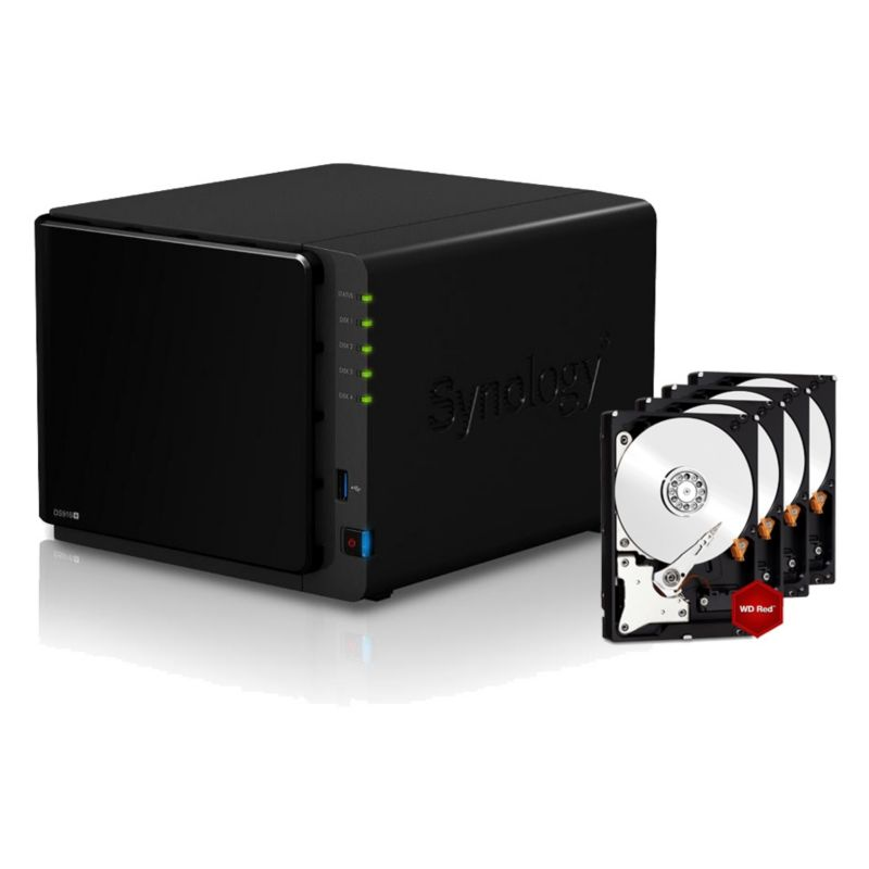 Synology Diskstation DS916+2GB NAS System 4-Bay 8TB inkl. 4x 2TB WD RED WD20EFRX
