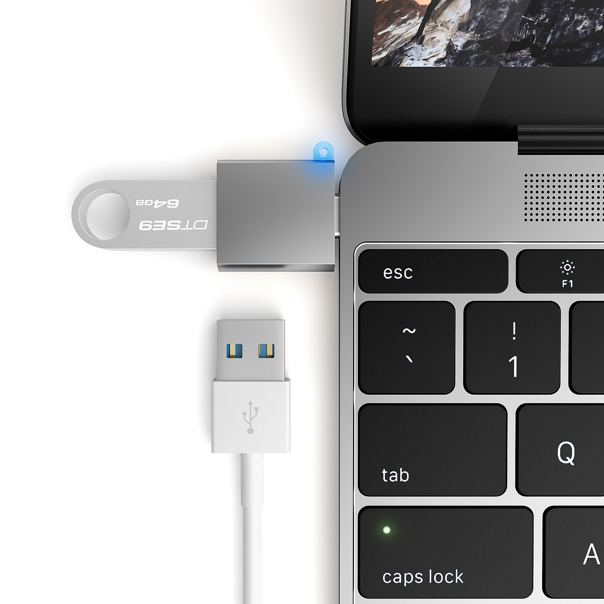 Satechi Type-C Type A USB Adapter Space Gray