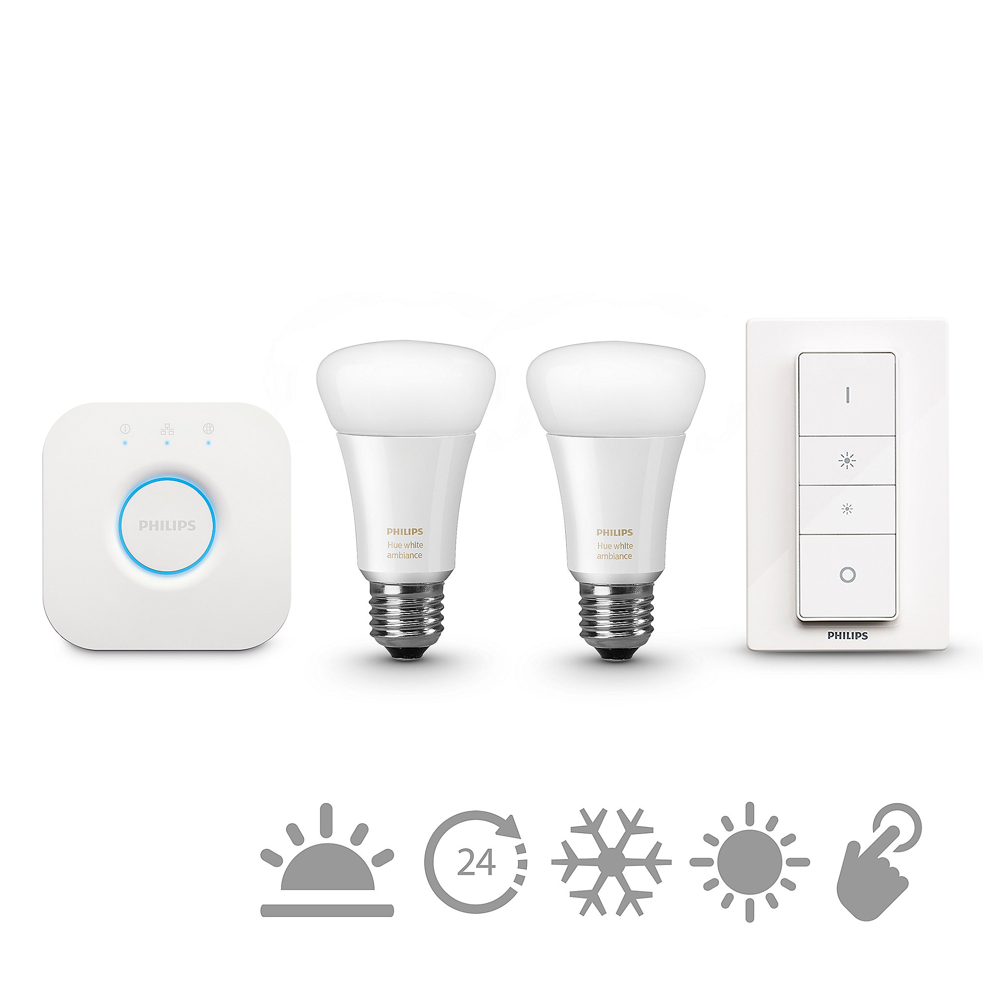 Philips Hue White Ambiance Starter Set - 2 x 9,5W A60 E27 inkl. Bridge