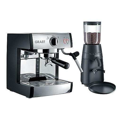 Graef ES702EUSET Siebträger-Espressomaschine pivalla mit Kaffeemühle CM 702 | 4001627010263
