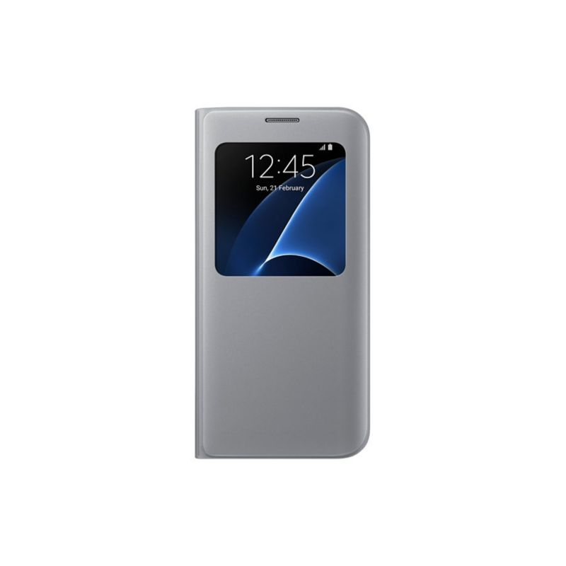Samsung EF-CG930PS S-View Cover für Galaxy S7 silber