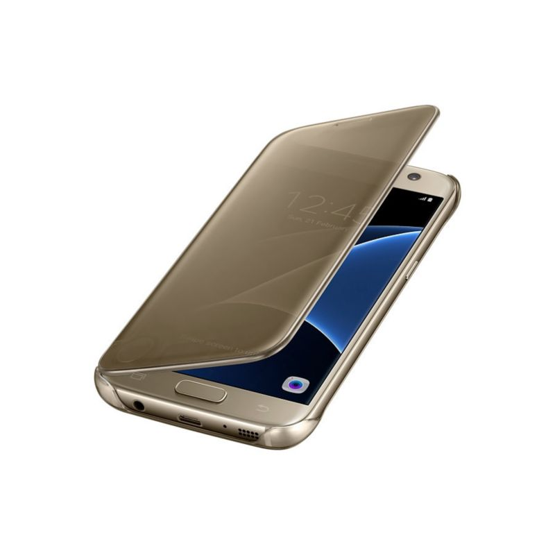 Samsung EF-ZG930CF Clear View Cover für Galaxy S7 gold