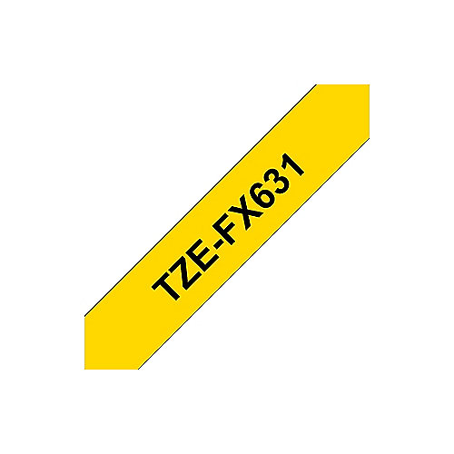 Brother TZe-FX631 Flexi-Tape – schwarz auf gelb – 12mm x 8m für P-Touch | 4977766691772