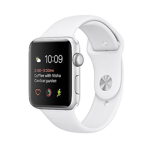 Apple Watch Series 1 42mm Aluminiumgehäuse Silber mit Sportarmband Weiß