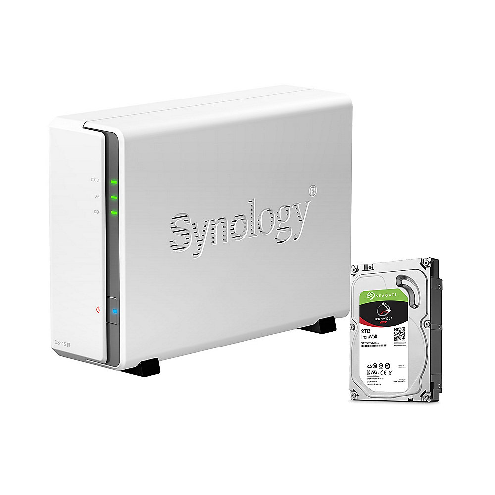 Synology DS115j NAS System 1-Bay 2TB inkl. 1x 2TB Seagate ST2000VN004