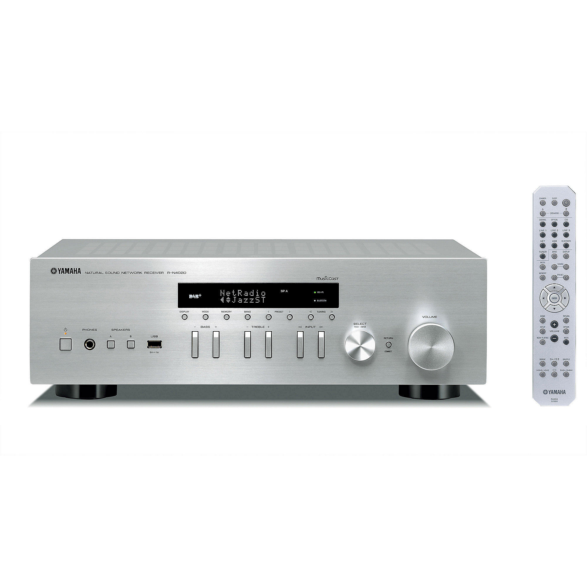yamaha r n402 d hifi netzwerk receiver mit dab silber. Black Bedroom Furniture Sets. Home Design Ideas