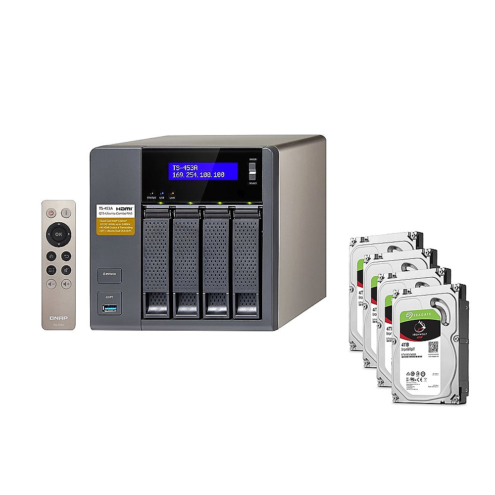 QNAP TS-453A-8G NAS System 4-Bay 16TB inkl. 4x 4TB Seagate ST4000VN008