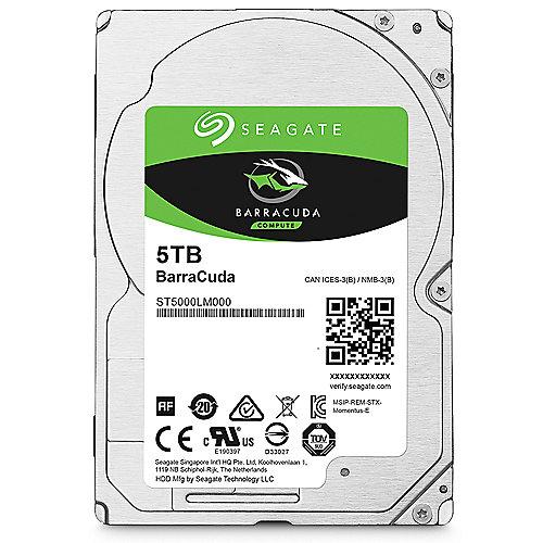 Seagate BarraCuda HDD ST5000LM000 – 5TB 5400rpm 128MB 2.5zoll SATA600   8592978077426