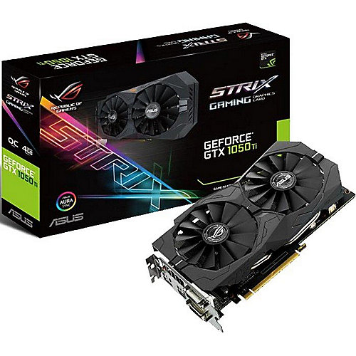 Asus GeForce GTX 1050Ti Strix OC ROG 4GB GDDR5 2xDVI/HDMI/DP Grafikkarte