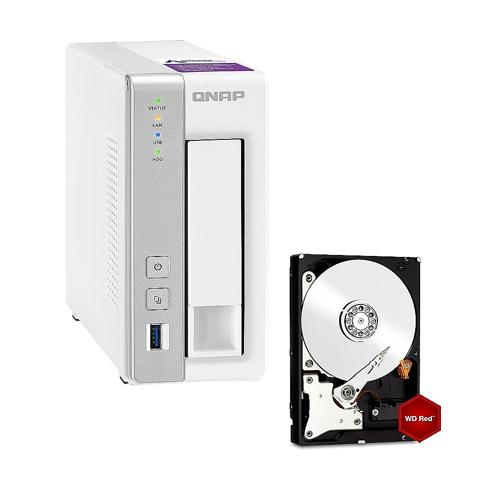 QNAP TS-131P NAS System 1-Bay 8TB inkl. 1x 8TB WD RED WD80EFZX