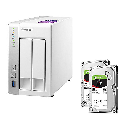 QNAP TS-231P NAS System 2-Bay 2TB inkl. 2x 1TB Seagate ST1000VN002