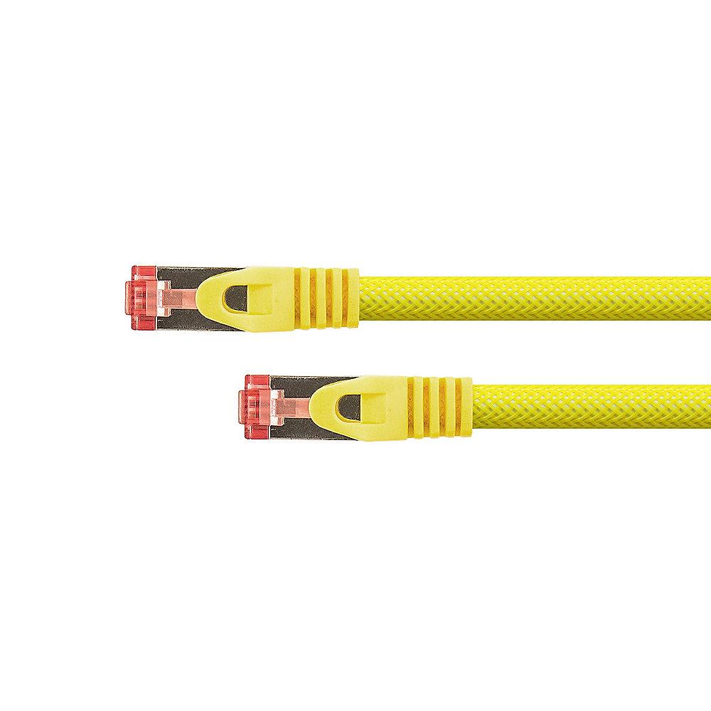 Netzwerk-Kabel CAT6 gelb 0,25m S//FTP PiMF 250MHz Patchkabel