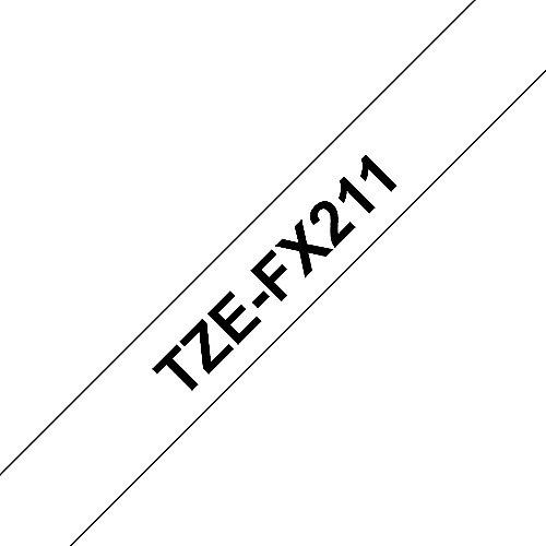 TZe-FX211 Schriftband 6mm x 8m schwarz auf weiss Flexi-Tape | 4977766692960