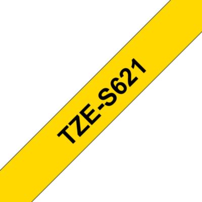 Brother  TZe-S621 Schriftband, 9mm x 8m, schwarz auf gelb, stark klebend | 4977766693356