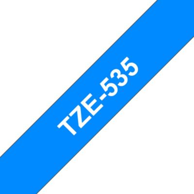 Brother  TZe-535 Schriftband 12mm x 8m, weiss auf blau, selbstklebend | 4977766686471
