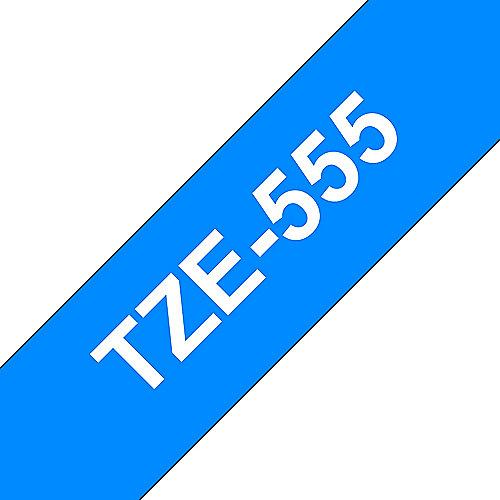 TZe-555 Schriftband 24mm x 8m, weiss auf blau, selbstklebend | 4977766686563
