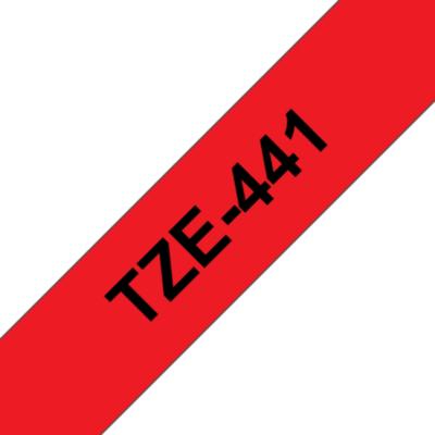 Brother  TZe-441 Schriftband, 18mm x 8m , schwarz auf rot, selbstklebend | 4977766686327