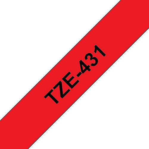 TZe-431 Schriftband, 12mm x 8m , schwarz auf rot, selbstklebend | 4977766686242