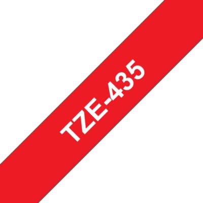 Brother  TZe-435 Schriftband, 12mm x 8m , weiss auf rot, selbstklebend | 4977766686297