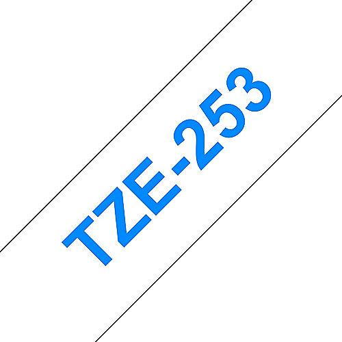 TZe-253 Schriftband, 24mm x 8m, blau auf weiß, selbstklebend | 4977766685498