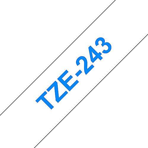 Brother TZe-243 Schriftband, 18mm x 8m, blau auf weiß, selbstklebend | 4977766685382