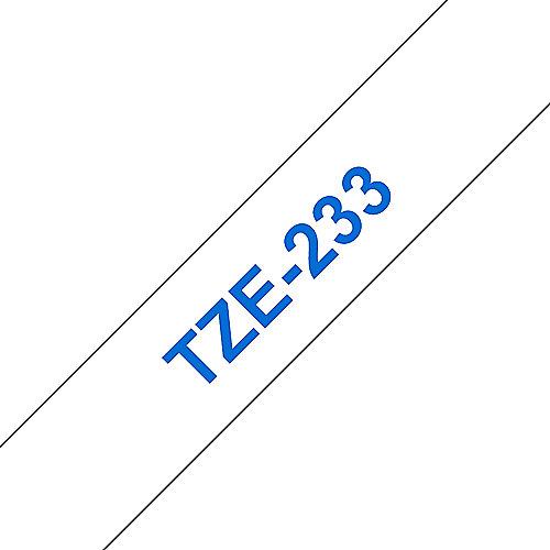 TZe-233 Schriftband, 12mm x 8m, blau auf weiß, selbstklebend | 4977766685276