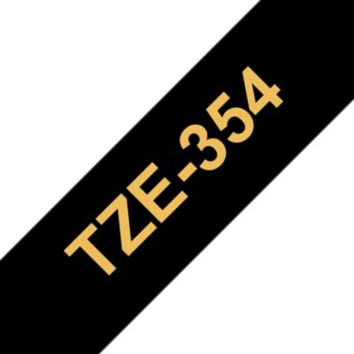 Brother  TZe-354 Schriftband gold auf schwarz, 24 mm x 8 m, selbstklebend | 4977766685825