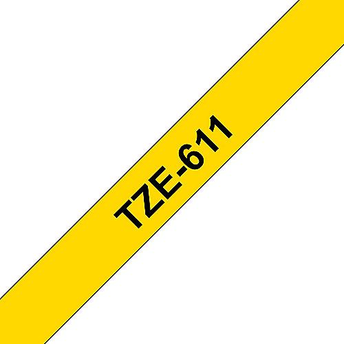 TZe-611 Schriftband schwarz auf gelb, 6mm x 8m, selbstklebend | 4977766686624