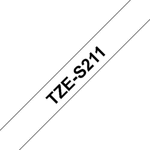 Brother TZe-S211 Schriftband, 6mm x 8m, schwarz auf weiß, stark klebend | 4977766693028