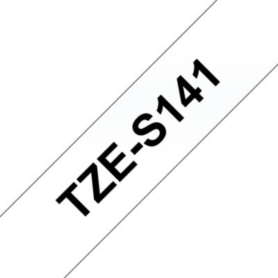 Brother  TZe-S141 Schriftband, 18mm x 8m, schwarz auf transparent, stark klebend | 4977766692144