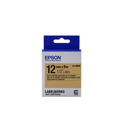 Epson  C53S654020 Schriftband LK-4KBM Metallic 12mmx9m schwarz/gold   8715946611358
