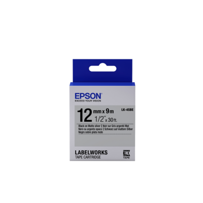Epson  C53S654017 Schriftband LK-4SBE klebend 12mmx9m schwarz matt / silber matt | 8715946611327