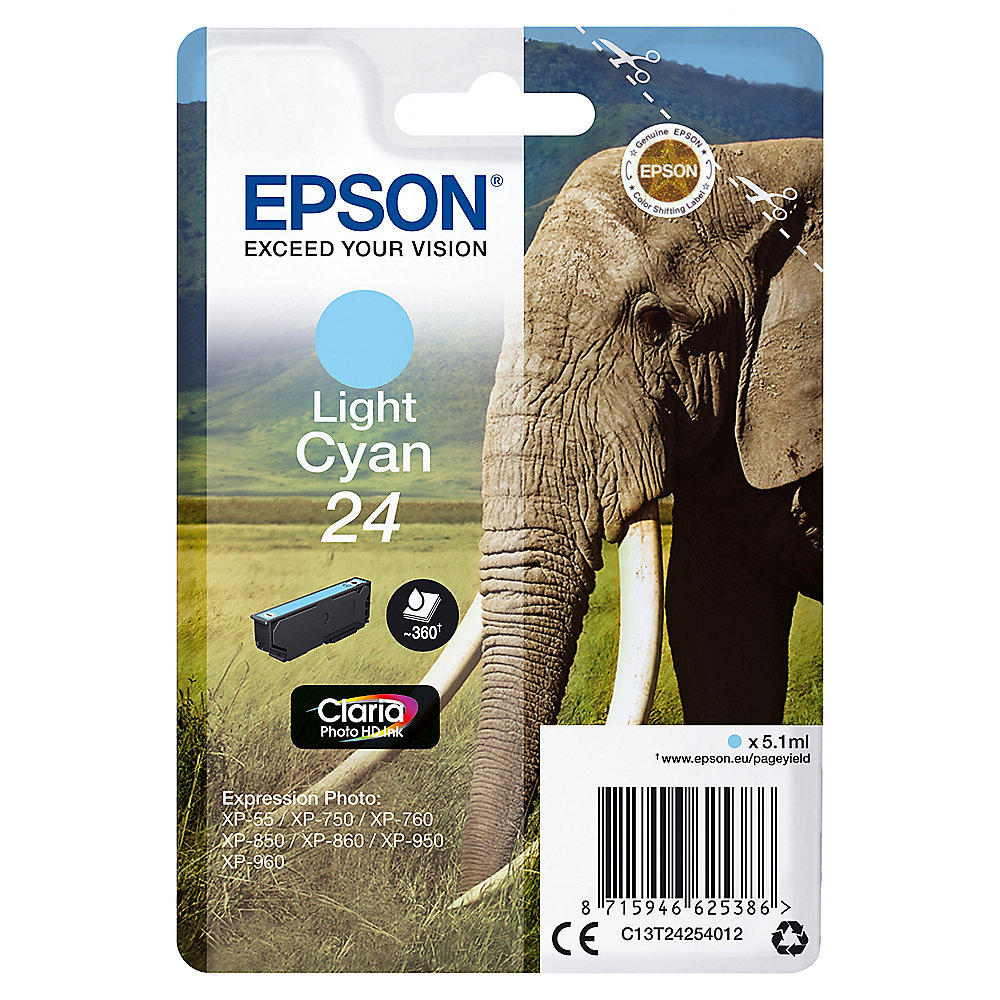 Epson C13T24254012 Druckerpatrone 24 Claria Photo HD light Cyan