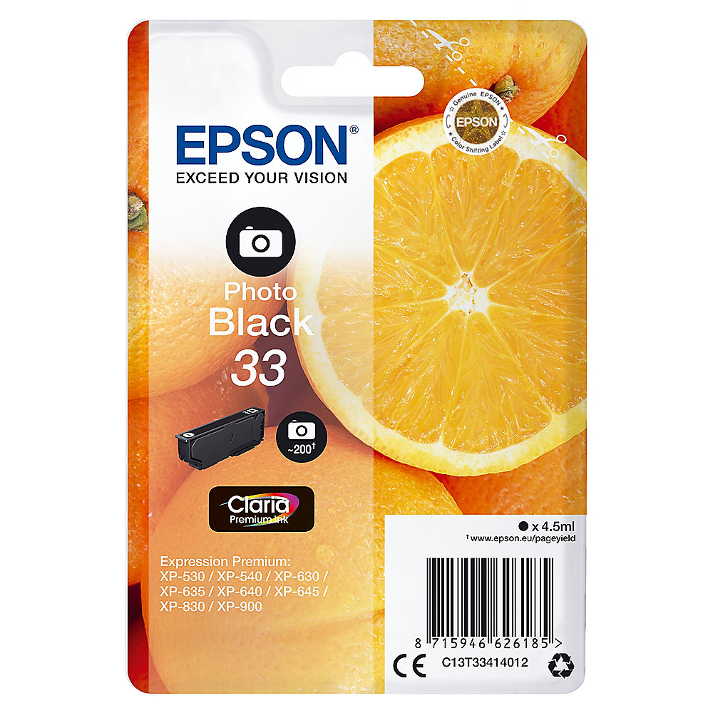 Epson C13T33414012 Druckerpatrone 33 Photo schwarz Claria Premium Ink