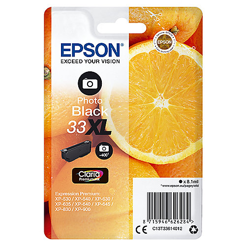 Epson C13T33614012 Druckerpatrone 33XL Photo schwarz Claria Premium Ink