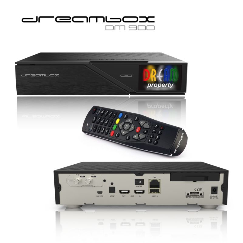 Dreambox DM900 4K UHD DVB-S2-Dual-Tuner-Receiver PVR, Linux HDMI USB3.0
